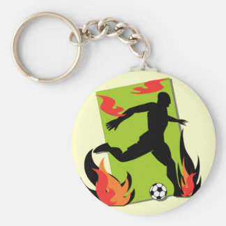 Flaming Soccer T shirts and Gifts Basic Round Button Key Ring