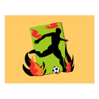 Flaming Soccer T shirts and Gifts Postcard