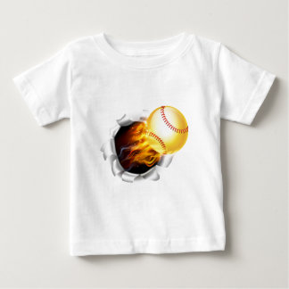 Flaming Softball Ball Tearing a Hole in the Backgr Baby T-Shirt
