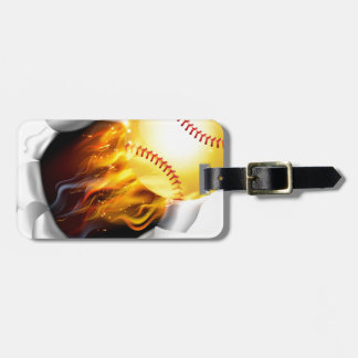 Flaming Softball Ball Tearing a Hole in the Backgr Luggage Tag