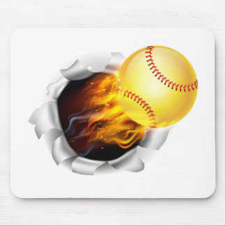 Flaming Softball Ball Tearing a Hole in the Backgr Mouse Pad
