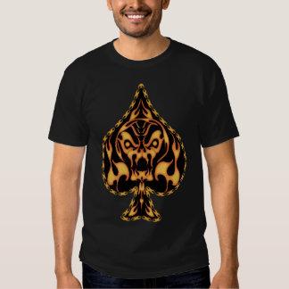 Flaming Spade Skull T Shirt
