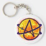 Flaming Sun Atheist Symbol Basic Round Button Key Ring