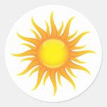 Flaming sun classic round sticker