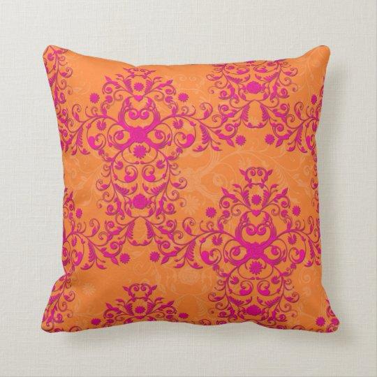 Flaming Tangerine Tango Orange and Pink Damask Cushion