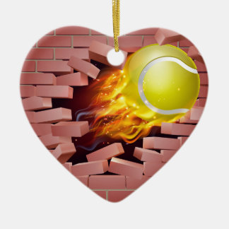 Flaming Tennis Ball Breaking Through Brick Wall Ceramic Heart Decoration