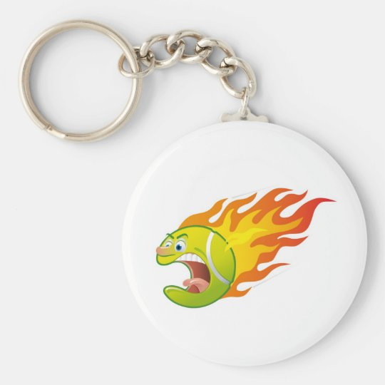 Flaming Tennis Ball Key Ring
