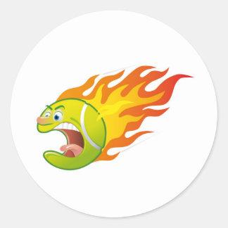 Flaming Tennis Ball Round Sticker