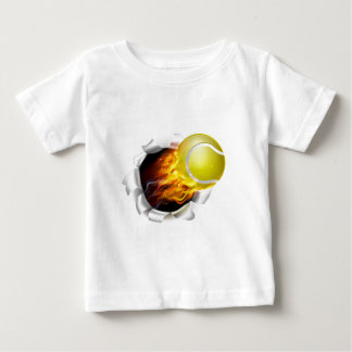 Flaming Tennis Ball Tearing a Hole inBackground Baby T-Shirt