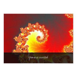 "Flaming Tentacle - Fractal Art 5"" X 7"" Invitation Card"