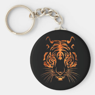 Flaming tiger basic round button key ring