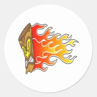 Flaming Tiki God Round Sticker