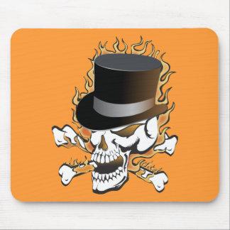 Flaming Top Hat Skull Mousepads