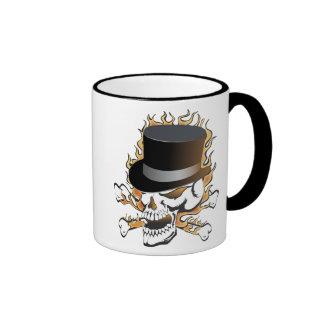 Flaming Top Hat Skull Ringer Mug