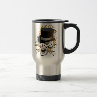 Flaming Top Hat Skull Travel Mug
