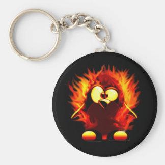 Flaming Tux (Penguin Torch) Basic Round Button Key Ring