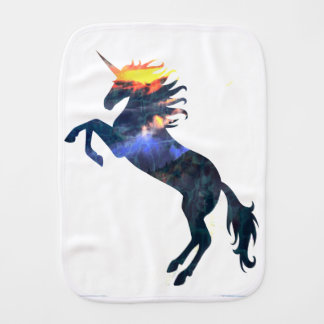 Flaming unicorn burp cloth
