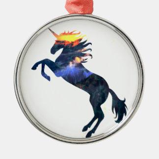 Flaming unicorn christmas ornament