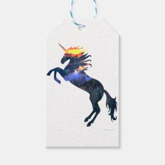 Flaming unicorn gift tags