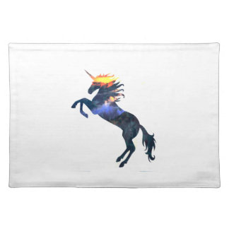 Flaming unicorn placemat