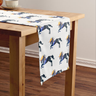 Flaming unicorn short table runner