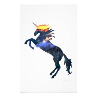 Flaming unicorn stationery