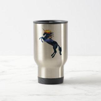 Flaming unicorn travel mug