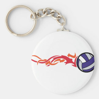 Flaming Volleyball Basic Round Button Key Ring
