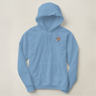 Flaming Volleyball Embroidered Hoodie