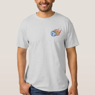 Flaming Volleyball Embroidered T-Shirt