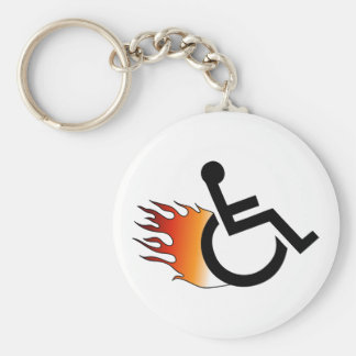 Flaming Wheelchair Basic Round Button Key Ring