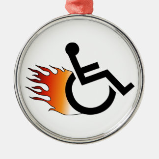 Flaming Wheelchair Silver-Colored Round Decoration