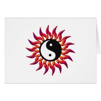 Flaming Yin Yang Sun Greeting Card