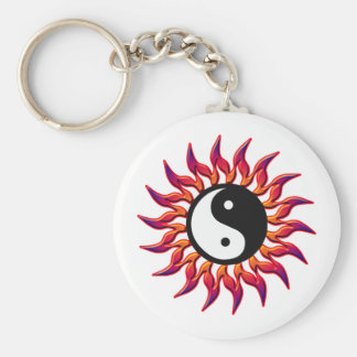 Flaming Yin Yang Sun Key Ring