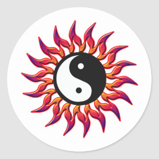 Flaming Yin Yang Sun Round Sticker