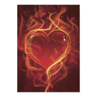 FlamingHeart fire dark red love flames heart shape Card