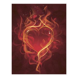 FlamingHeart fire dark red love flames heart shape 21.5 Cm X 28 Cm Flyer