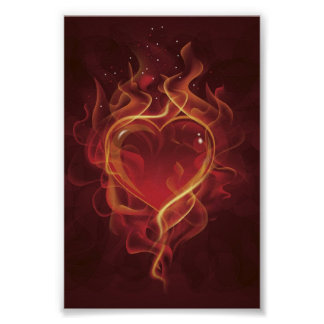 FlamingHeart fire dark red love flames heart shape Poster