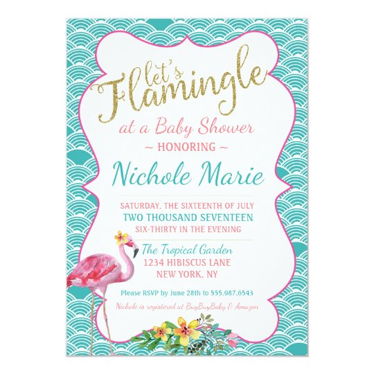 Flamingle Baby Shower Invitation Teal Pink Gold