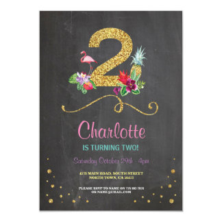 Flamingo Aloha 2nd 2 Birthday Party Chalk Invite