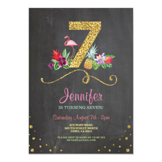 Flamingo Aloha 7th Birthday 7 Party Chalk Invite