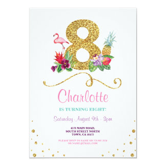 Flamingo Aloha 8th Eight 8 Birthday Party Invite