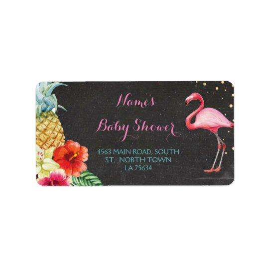 Flamingo Aloha Baby Shower Address Labels Stickers
