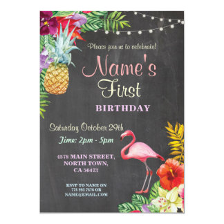 Flamingo Aloha Girl's First Birthday Invitation