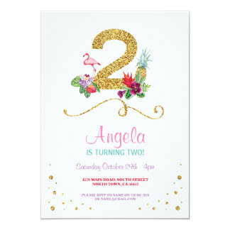 Flamingo Aloha Second 2nd 2 Birthday Party Invite
