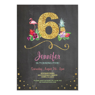 Flamingo Aloha Sixth 6 Birthday Party Chalk Invite