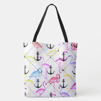 flamingo anchor customisable background tote