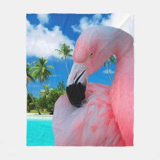Flamingo and Beach Fleece Blanket