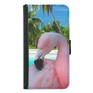 Flamingo and Beach Samsung Galaxy S5 Wallet Case