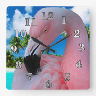 Flamingo and Beach Square Wall Clock